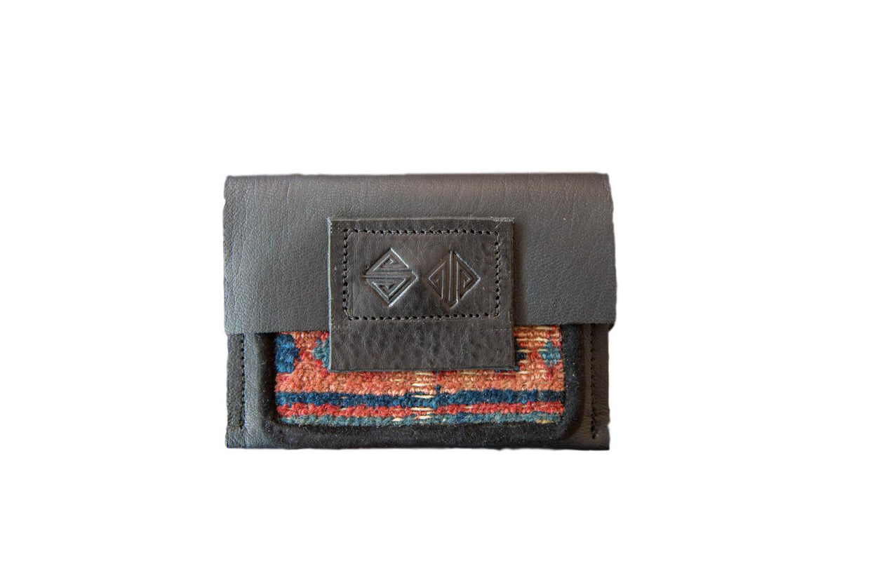 Leather and Rug Fragment Coin Purse / Wallet with Zipper // ONH Item 6239