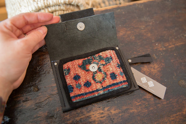 Leather and Rug Fragment Coin Purse