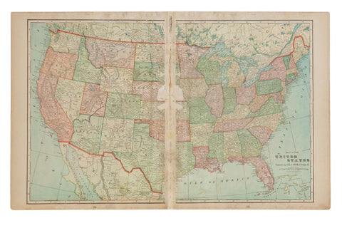 Map of United States of America Cram's Unrivaled Atlas of the World 1907 Edition