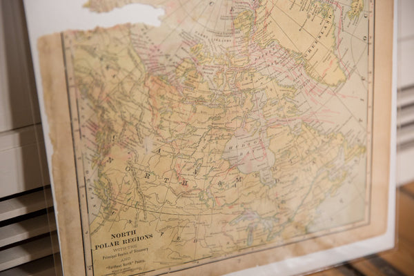 Map of North Polar Regions Cram's Unrivaled Atlas of the World 1907 Edition