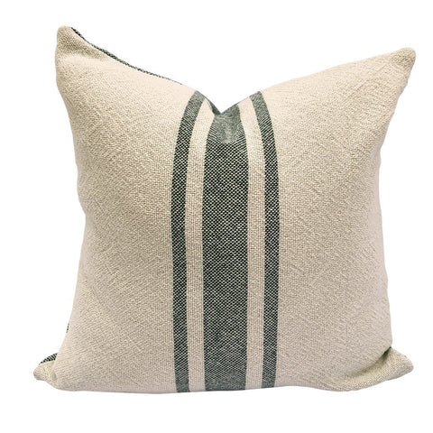 Loomination Woven Pillow Vintage Stripe Hunter Green