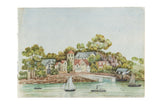 Antique Seascape Boats Watercolor Painting / ONH Item 6652