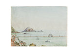 Antique Seascape The Mewstone Breakwater Mt Edgecombe Watercolor Painting / ONH Item 6654