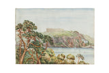 Antique Mt Edgecumbe England Watercolor Seascape Painting  / ONH Item 6655