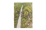 Antique England Lydford Gorge Waterfall Watercolor Painting / ONH Item 6656
