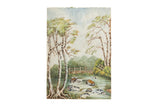 Antique The Flow From Lydford Gorge Waterfall Watercolor Painting / ONH Item 6657
