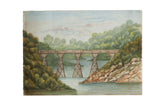 Railway Bridge Watercolor Painting / ONH Item 6662