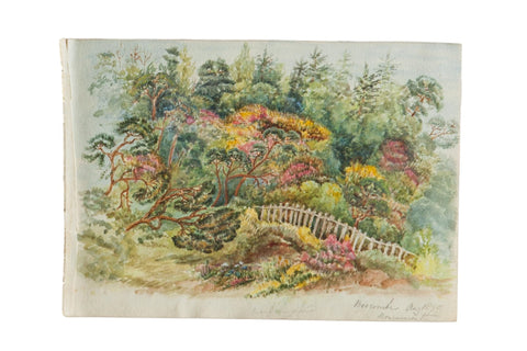 Boscombe Botanical Garden Antique Watercolor Painting / ONH Item 6665