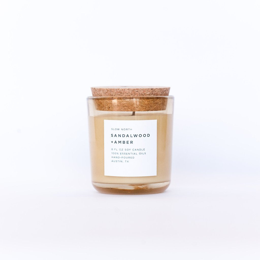 Sandalwood and Amber Slow North Soy Candle // ONH Item 6671