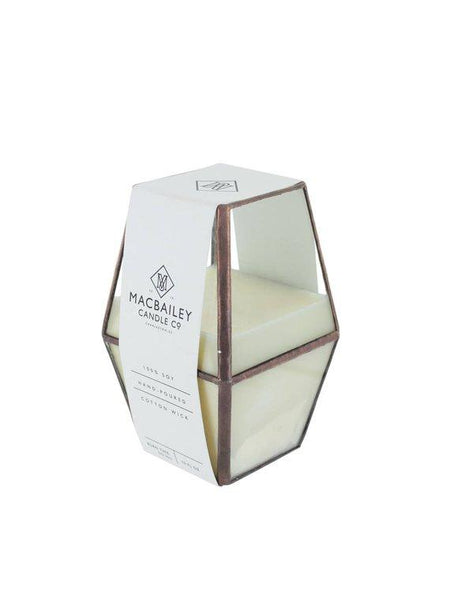 Copper Lantern Candle in Cabin Green