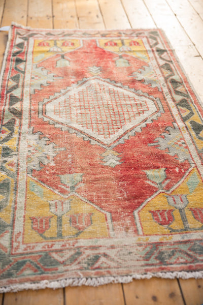 Vintage Distressed Oushak Rug Runner / ONH Item 6783 Image 2