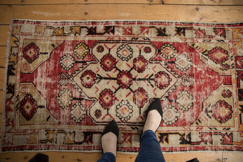 Vintage Distressed Oushak Rug Runner / ONH item 6787 Image 1