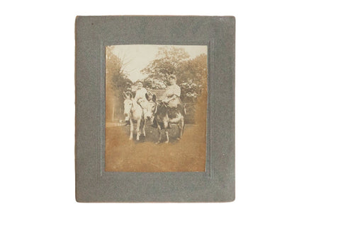 Antique Photograph of Riding Donkeys