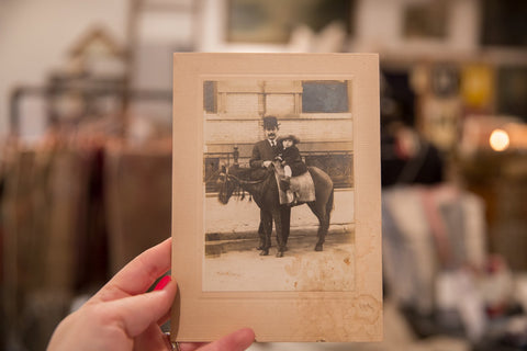 Antique Photograph of Child on Horse Image 1