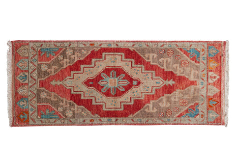 Vintage Distressed Oushak Rug Mat Runner / ONH item 6899
