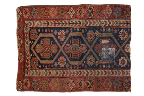 2.5x3 Antique Fragment Kurdish Square Rug // ONH Item 7002