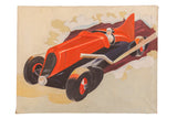 Vintage 1940s Folk Art Race Car Painting / ONH Item 7003