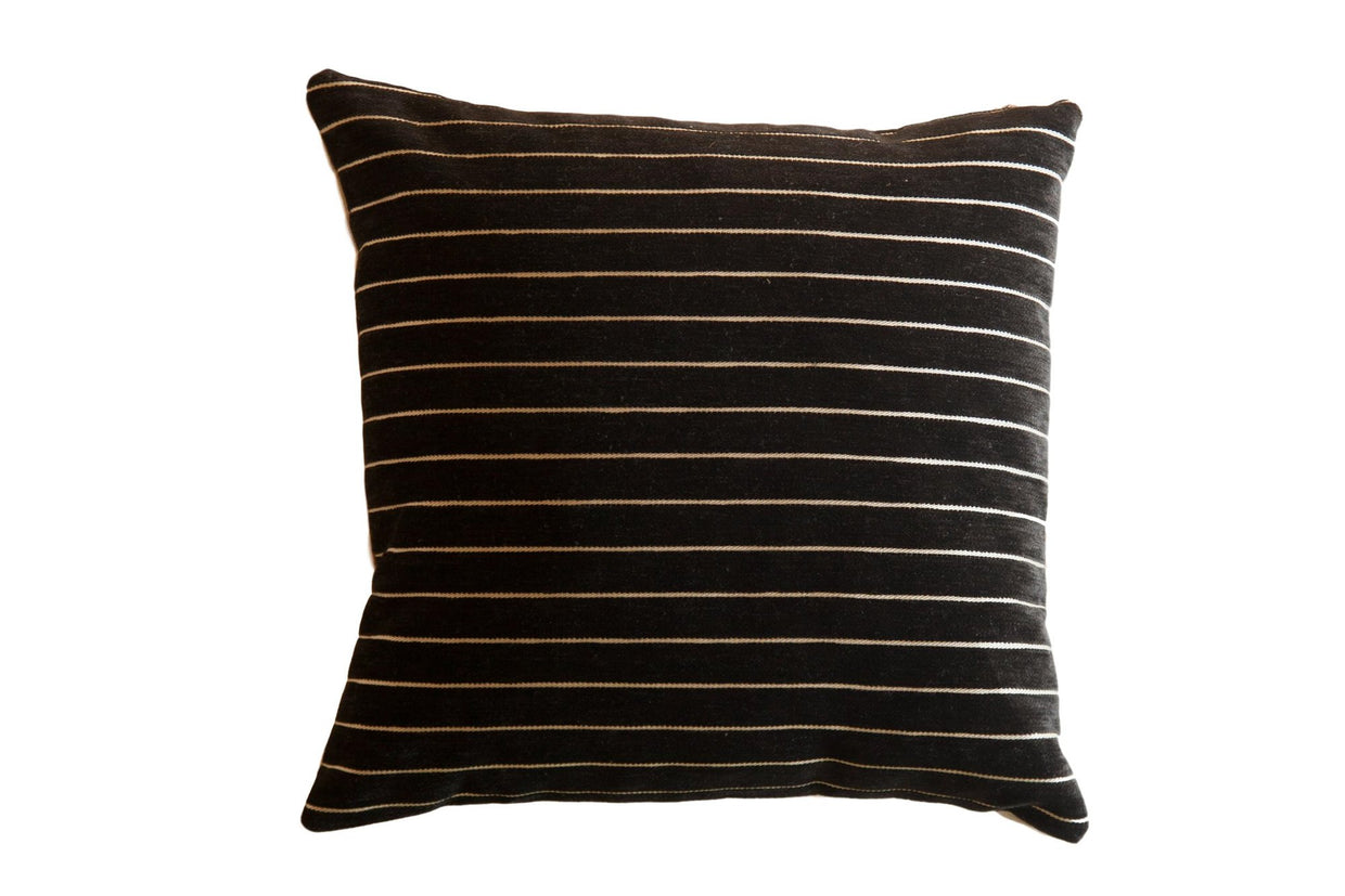 Black Velvet Stripe Throw Pillow / ONH Item 7463
