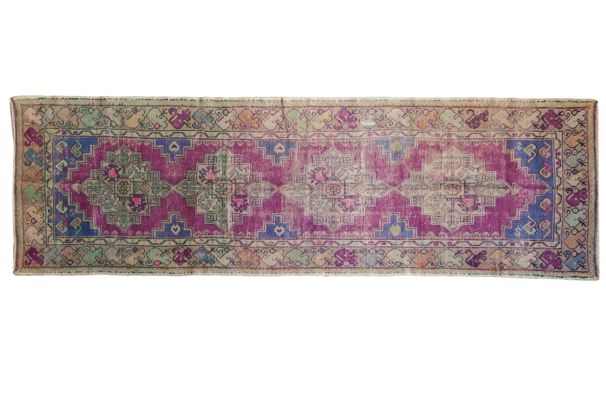 3x9.5 Vintage Distressed Oushak Rug Runner // ONH Item 7555