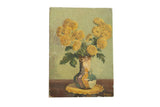 Vintage Still Life Vase of Fall Flowers Painting // ONH Item 7666