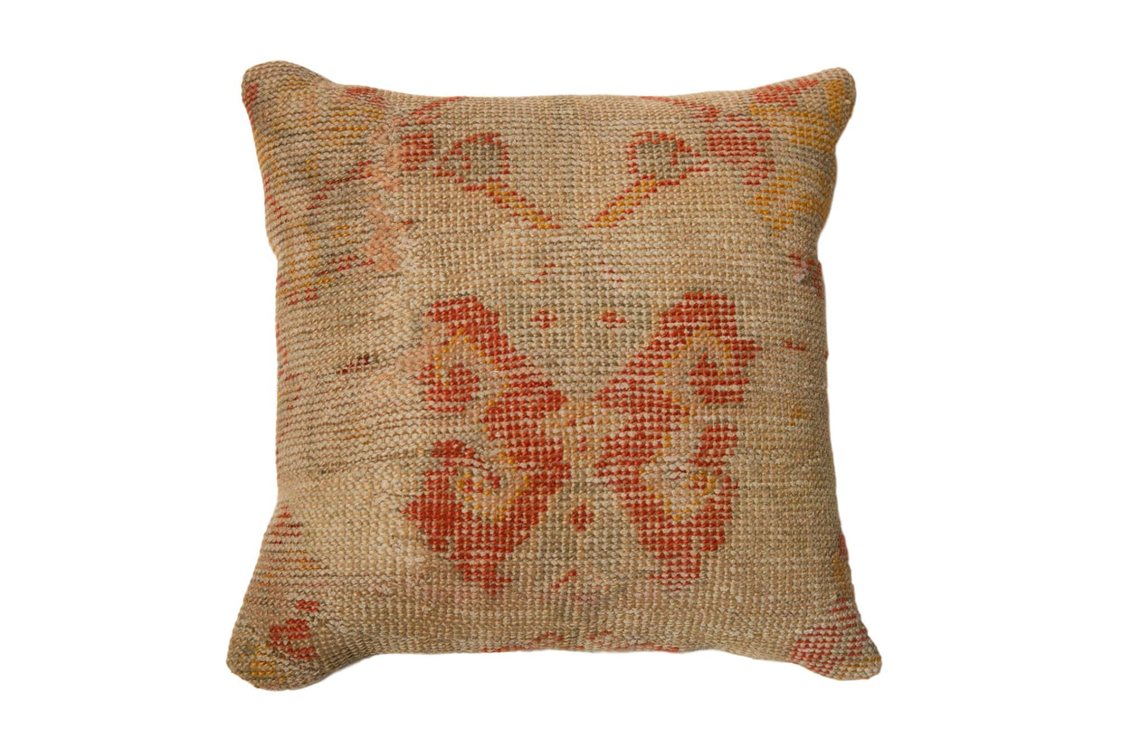 Vintage Turkish Rug Fragment Butterfly 20x20 Pillow // ONH Item 7741