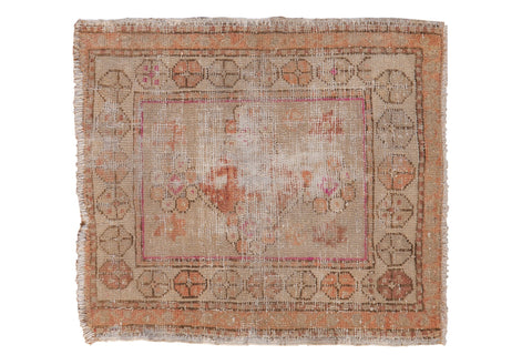 2x2.5 Vintage Distressed Oushak Square Rug Mat // ONH Item 7855