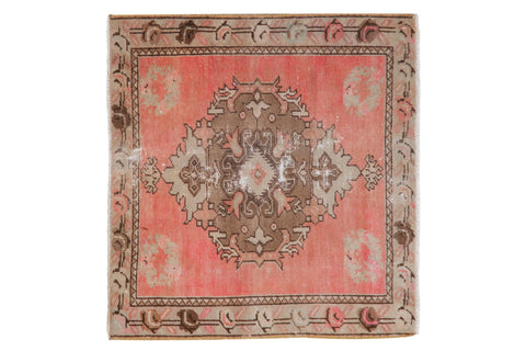 2x2.5 Vintage Distressed Oushak Square Rug Mat // ONH Item 8192