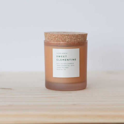 Sweet Clementine Soy Frosted Glass Candle // ONH Item 8199