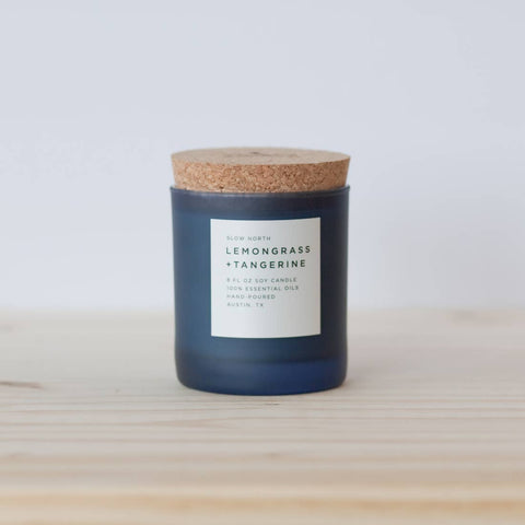 Lemongrass and Tangerine Soy Frosted Glass Candle // ONH Item 8200