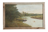 Antique Native American Indian in Canoe on River // ONH Item 8279