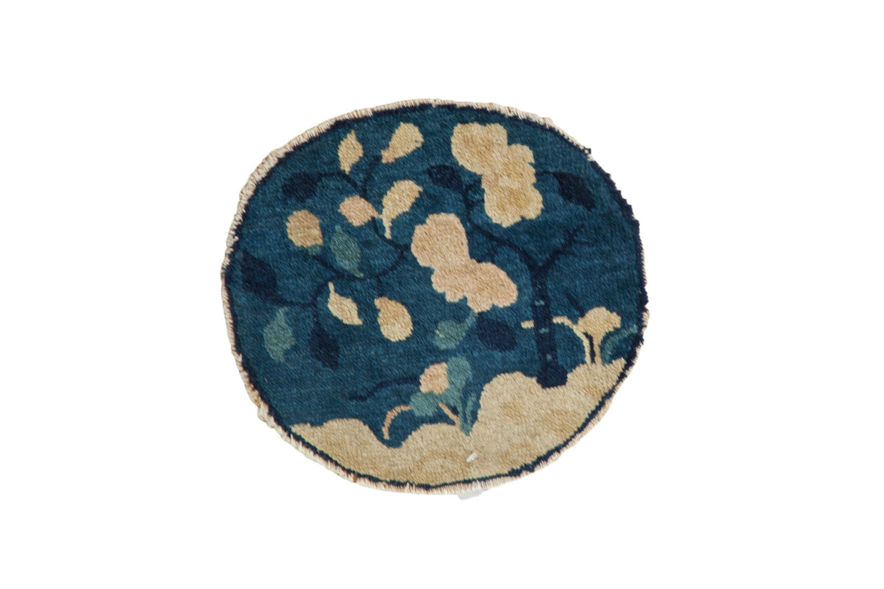 1x1 Antique Peking Round Rug Mat // ONH Item 8334