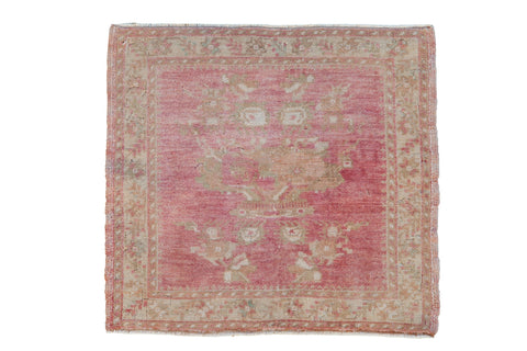 Vintage Distressed Oushak Square Rug Mat / ONH item 8628
