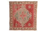 2x2 Vintage Distressed Oushak Square Rug Mat // ONH Item 8749