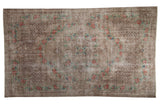 5.5x9.5 Vintage Distressed Overdyed Oushak Carpet // ONH Item 9051