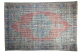 7.5x11 Vintage Distressed Overdyed Oushak Carpet // ONH Item 9054