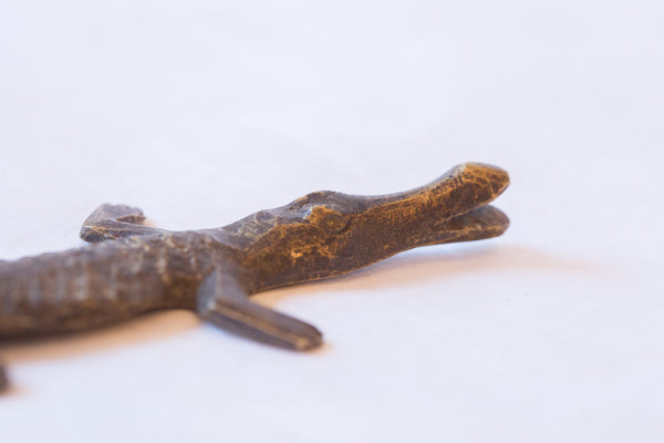 Vintage African Bronze Casting of Crocodile - Old New House