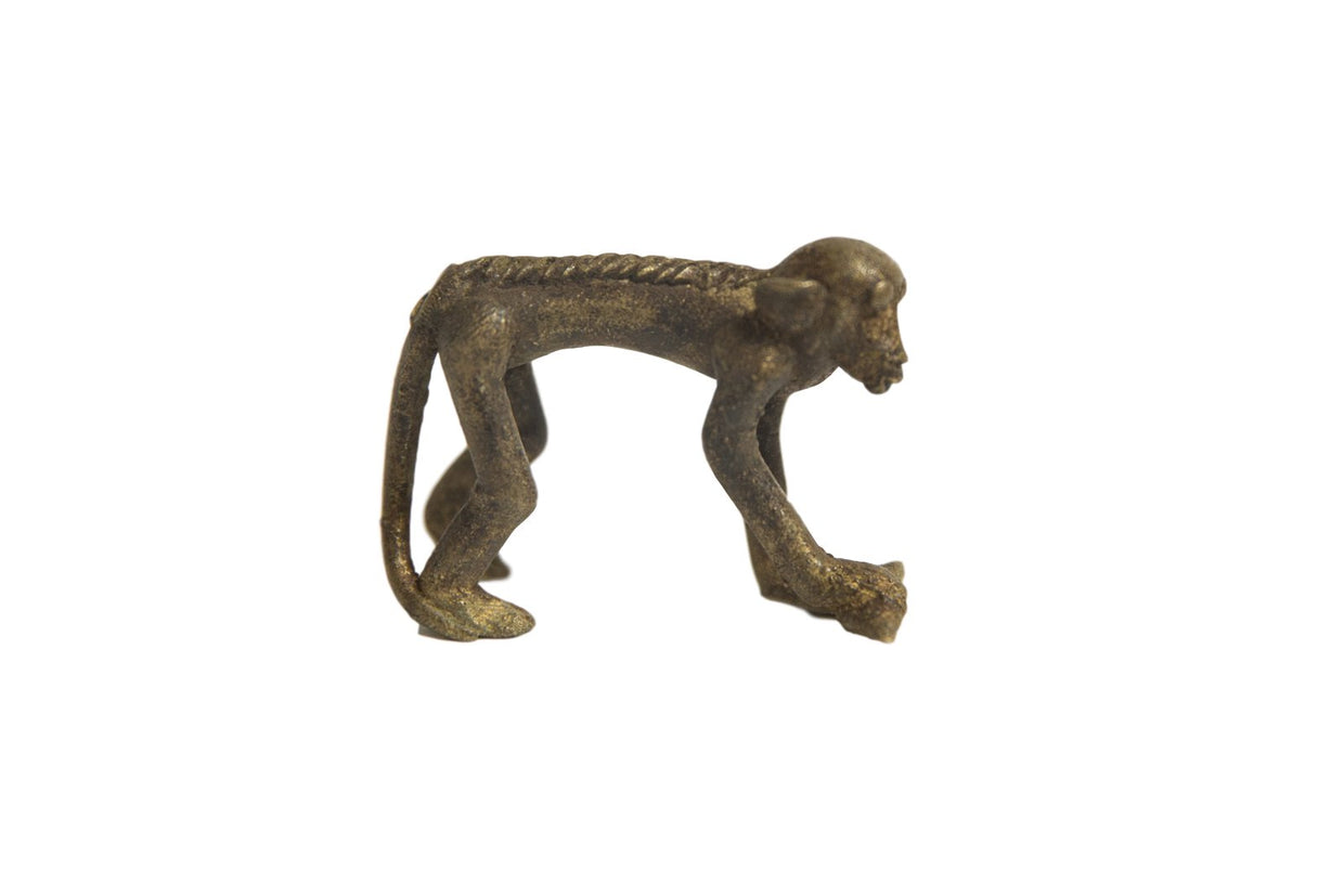 Vintage Monkey Bronze Gold Weight with Banana