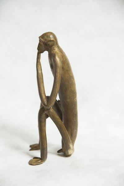 African Bronze Vintage Scuplture Casting Seated Monkey with Hand on Chin