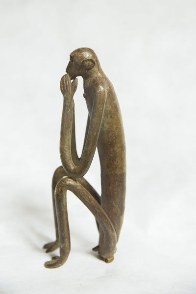 African Bronze Vintage Scuplture Casting Seated Monkey Hands Covering Mouth