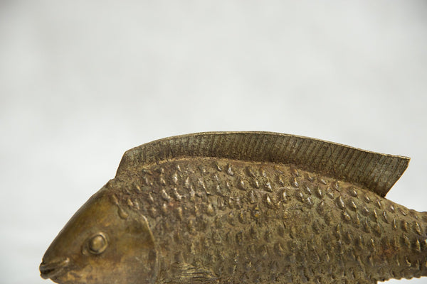 African Bronze Vintage Scuplture Casting Bass Fish Standing