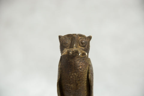African Bronze Vintage Scuplture Casting Owl with Rodent in Mouth
