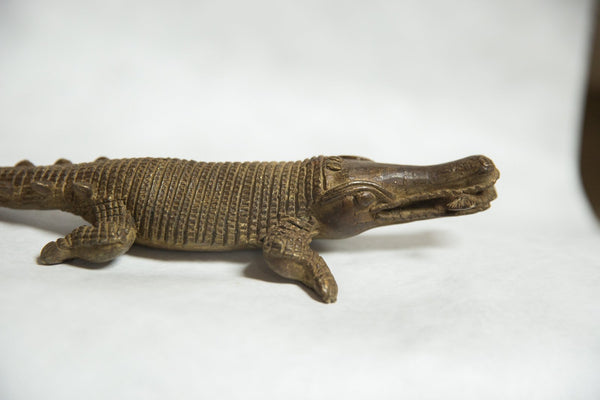 African Bronze Vintage Scuplture Casting Crocodile with Fish in Mouth