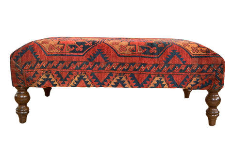 Antique Rug Fragment Ottoman Table // ONH Item AS8097A8093A