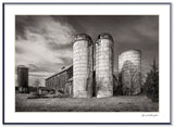 Dilmaghani Black and White Photograph, Barn and silos, NY