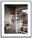 Dilmaghani Black and White Photograph, Side Porch, House, ME