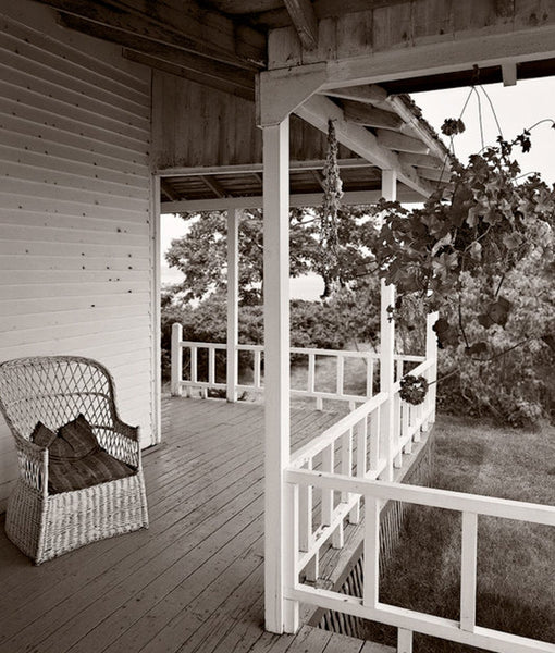 Black and White Photograph, Side Porch, House, ME