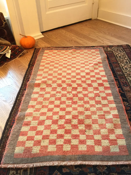 2x4 Vintage Checkered Tulu Rug Runner - Old New House