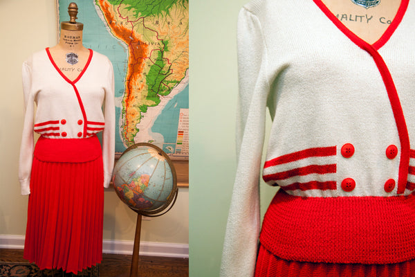 Vintage 70s Preppy Schoolgirl Outfit // by JJ Martin // Size S - M - Old New House