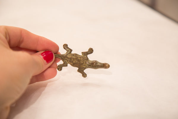 Vintage Tiny Crocodile Bronze Gold Weight