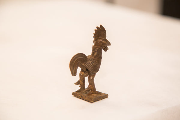 Vintage Dark Rooster Bronze Gold Weight